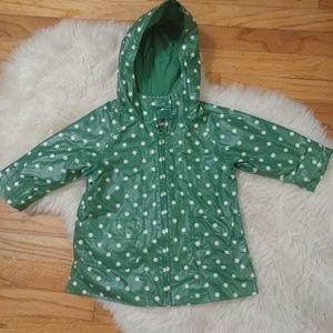 Baby Gap green polka dot rain jacket